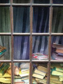 Bücher liegen hinter einer Fensterscheibe in einem Antiquariat. by Jürgen Schwarz