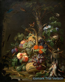 Abraham Mignon, Still Life with Fruit, Fish, and a Nest by artokoloro