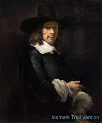Rembrandt van Rijn,  Portrait of a Gentleman with a Tall Hat and Gloves by artokoloro