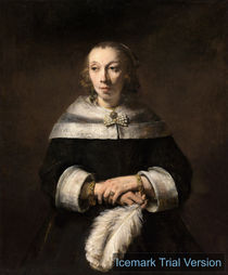 Rembrandt van Rijn, Portrait of a Lady with an Ostrich-Feather Fan by artokoloro