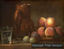 Jean Siméon Chardin, French (1699-1779), Fruit, Jug, and a Glass, c. 1726-1728, oil on canvas by artokoloro