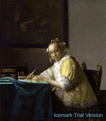 Johannes Vermeer, A Lady Writing by artokoloro