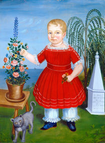 Girl in red & flowers naive american painting by artokoloro