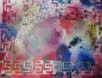 Über die Regenbrücke gehen und neue Welten sehen - Handmade Acrylbild - Mixed Media by Heide Pfannenschwarz