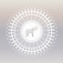 Elefant und Mandala in weiß und taupe by Nina Baydur