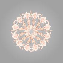 Mandala aus abstrakten Lilien rosegold und grau by Nina Baydur
