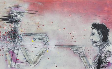 Man-playing-with-guns