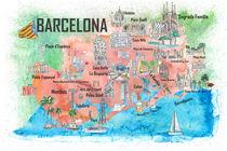Barcelona Katalonien Spanien Illustriertes Reiseposter Favoritenkarte Touristische Highlights von M.  Bleichner