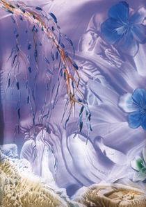 Blaue Blüten – Encaustic von Ulrike Kröll