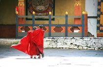 Novizen Arm in Arm in der Klosterfestung Paro, Bhutan, Himalaya von Peter Holle