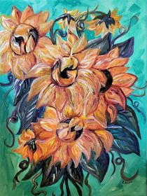 Sunflowers on a Teal and Blue Background von eloiseart