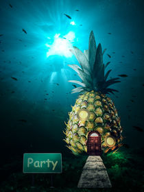 residential house in the pineapple deep in the sea -3d illustration von Sven Bachström