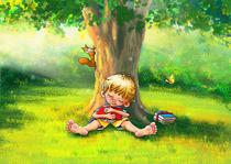 Bücherliebe - Der kleine Leser ist im Park eingeschlafen by Peter Holle