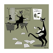 """Mid Century Modern Atomic X-Files Cats. """"Oh, Mulder! They exist!"""" by atomicoffice"""