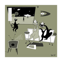 """""""Signs"""" Mid Century Modern Atomic Cats. by atomicoffice"""
