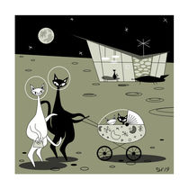 """""""Love You To The Moon And Back"""" Mid Century Modern Atomic Cats by atomicoffice"""