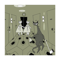 """""""REDRUM"""" The Shining Mid Century Modern Atomic Cats by atomicoffice"""