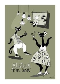 Dancing In Tiki Bar Mid Century Modern Atomic Cats by atomicoffice