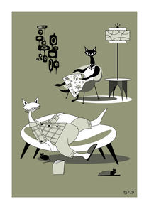 Lazy Friday Night Mid Century Modern Atomic Cats And Mice by atomicoffice