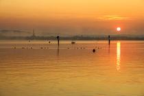 Sonnenaufgang über dem Zeller See mit Radolfzeller Münster - Halbinsel Höri by Christine Horn