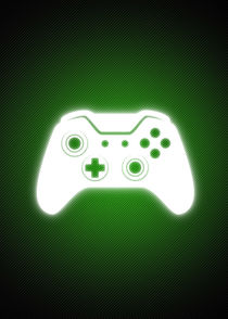 Glowing joypad silhouette Green von William Rossin