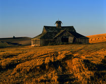 Old barn weather beaten and falling down Eastern Washington by Jim Corwin