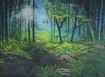 Waldweg mit Bank by Sharon Melodie Emmrich