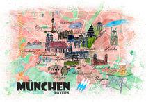 München Bayern Illustrierte Reisekarte mit Hauptstraßen, Sehenswürdigkeiten und Highlights by M.  Bleichner
