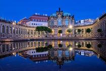 'Dresdner Zwinger mit Spiegelung zur Blauen Stunde ' by Astrid Steffens