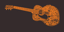 Acoustic Martin Guitar Art  - Orange and Black von Lisa Rotenberg