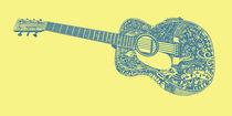 Acoustic Martin Guitar Art - Yellow and Blue von Lisa Rotenberg