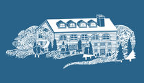 Dog House Tattoo One Colour art - Blue and White by Lisa Rotenberg