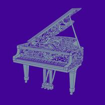 Player Piano Original Illustration - Purple and grey! by Lisa Rotenberg