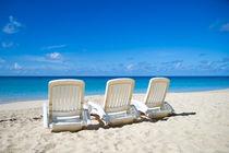 Chaise Lounges on a Sandy Beach by Tanya Kurushova