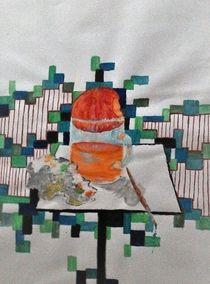 Stilleben mit Apfel, Tee & Malutensilien von aurora-amath