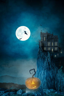 haunted house on a night with a full moon von Sven Bachström