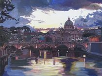 Rom Italien Spektakulärer Sonnenuntergang über dem St. Peter Vatikan mit Tiber und Brücke von M.  Bleichner