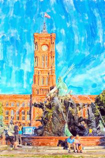 Rote Rathaus in Berlin mit Neptunbrunnen. by havelmomente