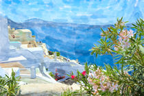 Illustration of Greek Island Santonin town names Ia. View over caldera and traditional houses. by havelmomente