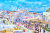 illustration of Greek Island Santorini town names Ia. People walking through the town by havelmomente