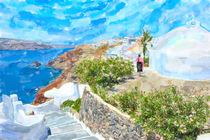 illustration of Greek Island Santorini town names Ia.  by havelmomente