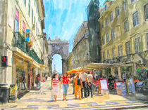 Illustration of Cityscape of Lisbon district Baixa with its stores and houses. People walking around. von havelmomente
