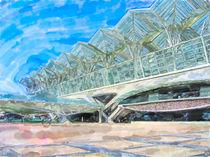 Illustration of Lisbon train station Oriente with futuristic architecture style. von havelmomente