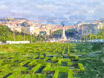 Illustration of Lisbon Eduardo VII Park with view over the whole city. von havelmomente