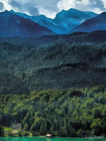 Landschaft der Alpen in mehreren Farbschichten von Christian Mueller
