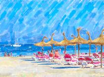 Badeparadies mit Sonnenschirmen in Mallorca von havelmomente
