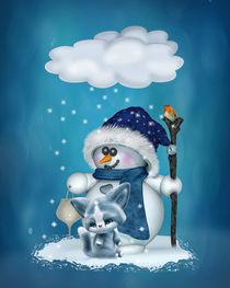 Kleiner Schneemann in blau von Andrea Tiettje