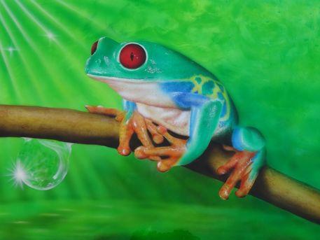 Frosch-grun-airbrush-colorair-nrw-kurse-shop-design-lackierungen-willich-dusseldorf-malerei