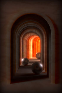 Fantasy-Gebäude mit Bogengang und hellem Licht am Ende von dresdner