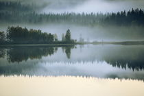 Hazy autumn forest at the shore of a lake is reflected in the smooth water von Intensivelight Panorama-Edition